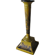 Antique c1880s Victorian Decoupage Tole Candlestick, Mustard Yellow Toleware