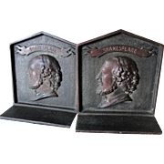 Antique William Shakespeare Cast Iron Bookends, Desk or Library Decor