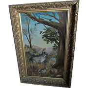 Charming c1880s Antique Folk Art Oil Painting of a Rabbit & her Baby Bunnies