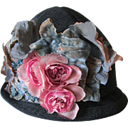 c1920s Flapper, Gatsby Cloche Hat with Velvet Flowers, Millinery, Fashion Accessory