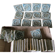34 Antique Art Pottery Tiles with Laurel Wreath Motif, Victorian Architecture Elements