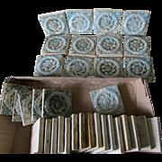 34 Antique Art Pottery Tiles with Laurel Wreath Motif, Victorian Architecture Elements
