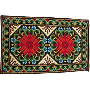 Antique Needlepoint Panel, Upholstery, Rug or Table Runner in Jewel Tone Colors