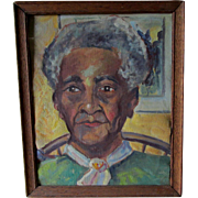 Vintage c1940s Southern Folk Art Portrait of a Lady