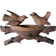 Antique German, Black Forest Hand Carved Hooks with Birds & Nest