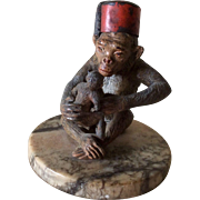 Antique  Cold Painted Monkey & Baby Figurine, Paperweight