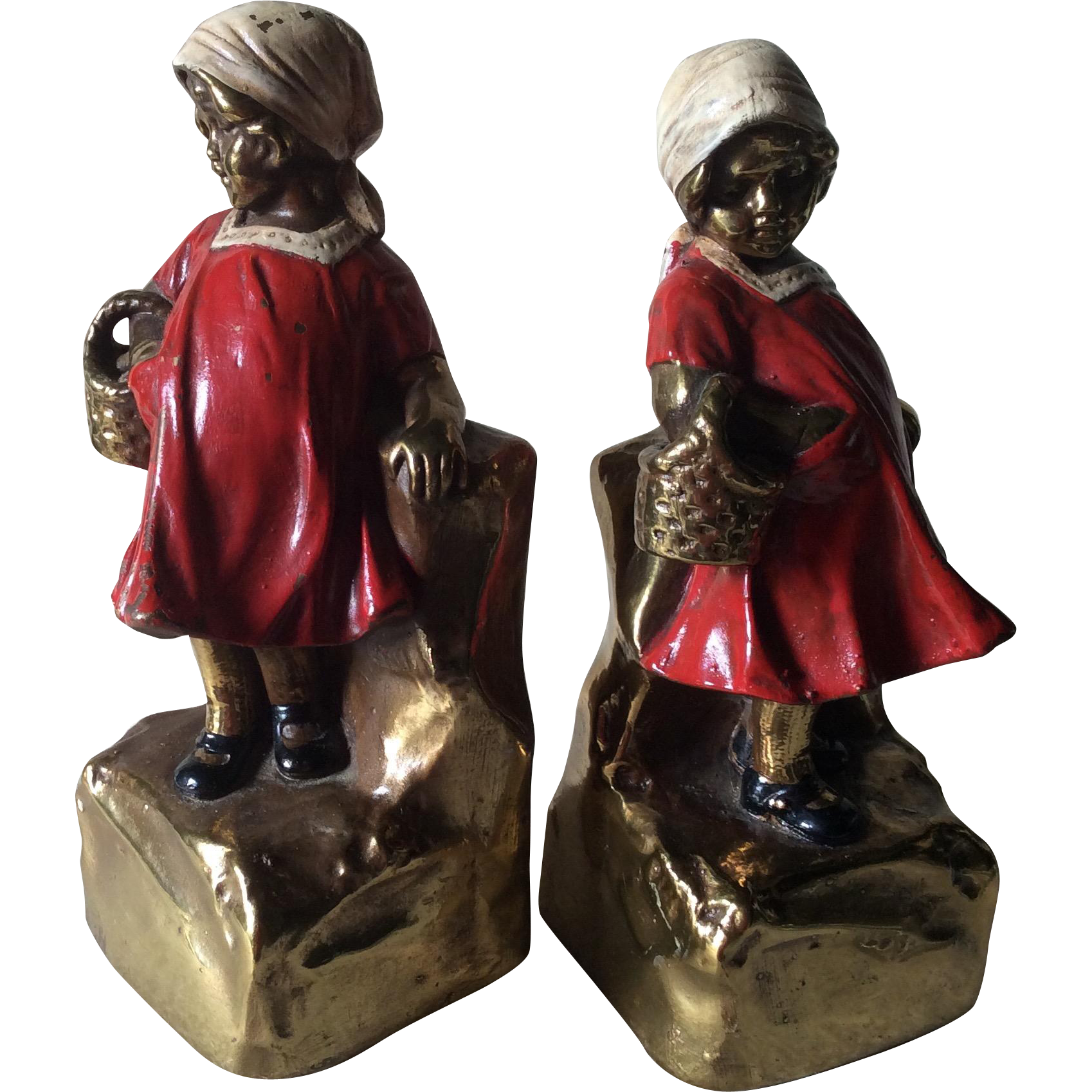 Charming armor bronze bookends of little girls from neatcurios on ruby lane - Armor bronze bookends ...