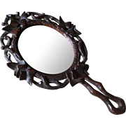 Antique German Black Forest Carved wood Hand Mirror, Vanity Accessory