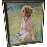 Beautiful c1930s Impressionistic Print of a Girl and her Doll
