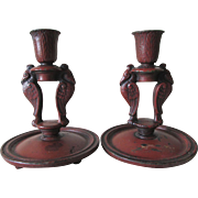 Pair Art Nouveau, Art Deco Rook, Crow Cast Iron  Candlesticks Signed MP,  Maxfield Parrish
