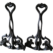 Lovely Antique Art Nouveau Chenets, Fireplace Accessory, Andirons