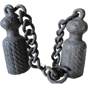 Pair Antique 19thC Figural Tassel Garden Gate Weights
