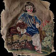 Antique c1880s Petit Point Tapestry, Sampler of Boy & Dog