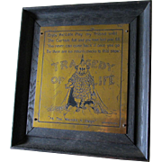 Antique c1903 Arts & Crafts Motto Plaque by Nash, Tragedy of Life