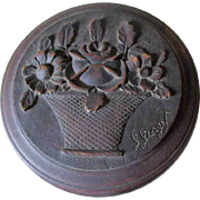 Pretty Art Deco Hand Carved Jewelry Box with Basket of Roses