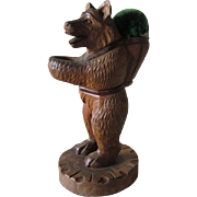 Vintage Black Forest Carved Bear Sewing Thimble Holder & Pincushion
