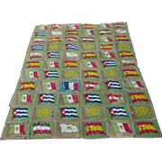 Antique Tobacco Felt, Advertising Premium, Quilt Top or Tablecloth with Flags