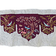 Antique Victorian Petit Point Shelf Trim with Embroidered Birds & Flowers
