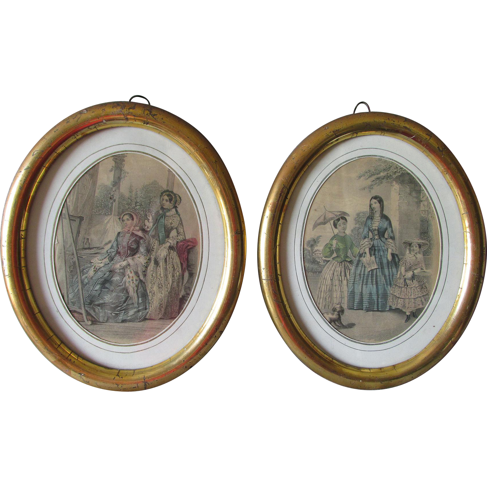 Pair 1800s Gilt Gilded Oval Picture Frames With Old Glass