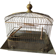 Antique Hendryx Brass Bird Cage with Original Brass Seed Guard