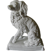 Antique Parian Porcelain King Charles Spaniel Dog Figurine