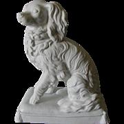 Antique Parian Porcelain King Charles Spaniel Dog Figurine