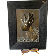 Antique European Bas Relief Plaque of a Roe Deer, Buck, Signed Dillen