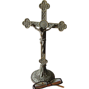 Antique Bronze Christian Crucifix, Cross, Home or Garden Decor