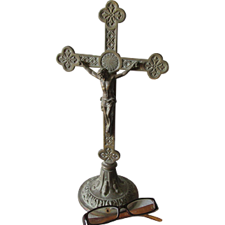 Antique Bronze Christian Crucifix, Cross, Home or Garden Decor