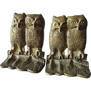 Vintage Cast Brass Owl Bookends, Desk or Library Decor