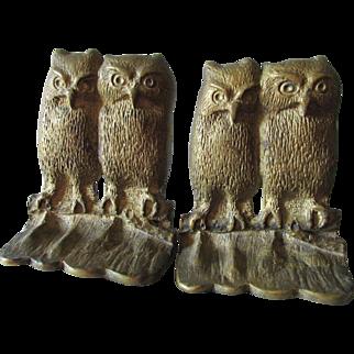 Vintage Cast Brass Owl Bookends, Desk or Library Decor