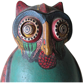 Vintage Mexican Owl Mystery Water Pitcher, Hand Painted, Studio Art Pottery