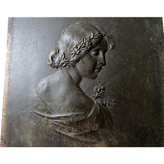 Lovely Antique Bronze Plaque of a Pretty Lady, Artist Signed, c1905 Berlin, Germany