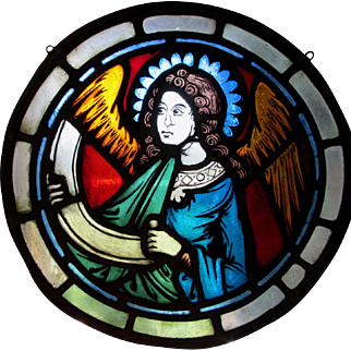 Vintage Stained Glass Window with Angel, Christianity