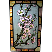 Antique Stained Glass Window Fragment with Aesthetic Flowers, Opalescent Glass