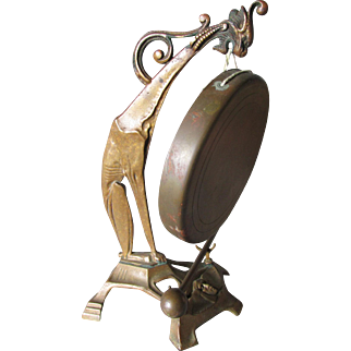 Antique Egyptian Revival Bronze Dinner Gong with Gargoyle or Griffin & King