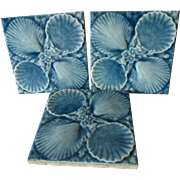 3 Antique Art Pottery Tiles with Sea Shell Motif, American Encaustic Tiling Co.
