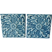 Pair Antique Aesthetic Movement Tiles by American Encaustic Tiling Co
