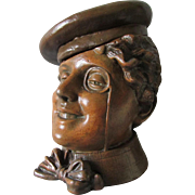 Antique Figural Tobacco Humidor, Edwardian Woman with Monocle, Gibson Girl