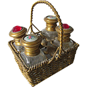 Antique French Enamel & Jeweled Perfume Bottles in Basket