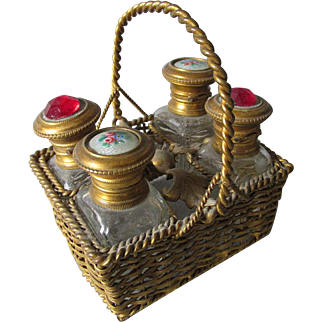 Antique French Enamel & Jeweled Perfume Bottles in Basket