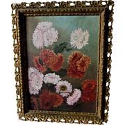 Antique Folk Art Oil Painting of Aster, Chrysanthemum Flowers