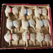 9 Antique Putz Spun Cotton, Wood Sheep, Christmas Decorations