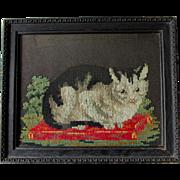 Charming Antique Sampler, Framed Needlepoint of a Kitten, Cat