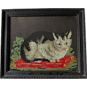 Charming Antique Sampler, Framed Needlepoint of a Kitten, Cat