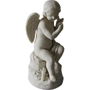 Antique Parian Porcelain Figurine of Cupid, Holding a Bird, Cherub Angel