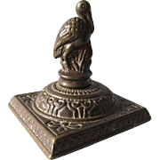 c1880s Aesthetic Movement Cast Iron Desk Paperweight with Heron or Stork