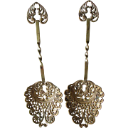 Pair Pretty c1900 Victorian, Edwardian Pierced Serving Spoons