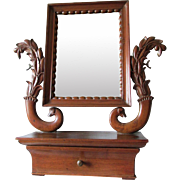 Fine Antique Vanity, Shaving Mirror with Carved Dog Head Finials, Dolphins