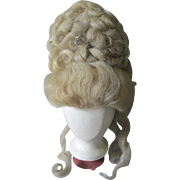 Antique c1880s French Fontange Wig, Marie Antionette, Theater Fashion Accessory